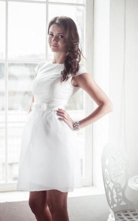Courthouse bridals dresses courthouse style wedding dress june jewel cap sleeve short satin wedding dress with sash and sequins junglespirit Choice Image