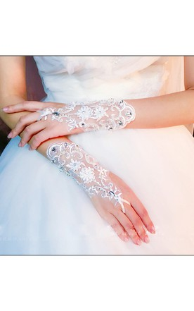 Diamond New Korean Temperament Short Lace Mitts