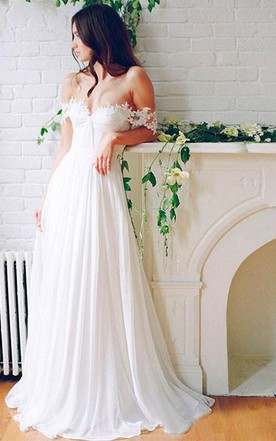 Beach Chiffon A Line Floor Length Off Shoulder Bridal Gown With Pleats ...