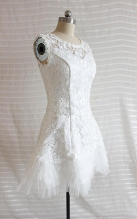 A Line Short Tulle Lace Satin Weddig Dress