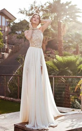 A-Line Princess Halter Sleeveless Lace Chiffon Sweep Brush Train Dresses