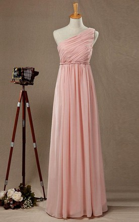 2016 Empire One-shoulder Blush Bridesmaid Dress