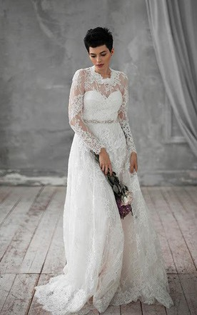 Natural Long Sleeve Lace Weddig Dress