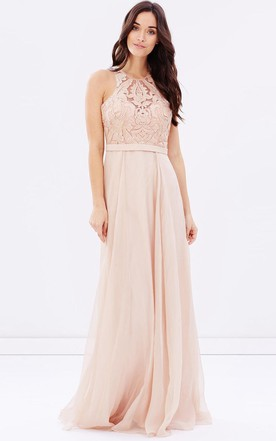 bfd674f5d Sheath Sleeveless Appliqued Scoop Neck Chiffon Bridesmaid Dress With  Sequins ...