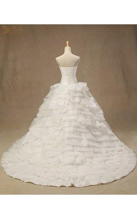 ... Sweetheart Empire Lace Up Back Organza Wedding Dress With Tiers And Sash