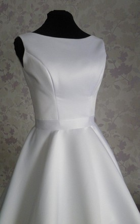 4d3d9afc19d ... Audrey Hepburn 1950 Vintage Inspired Wedding Dress With Tea Length  Skirt With V Shaped Back Cutout