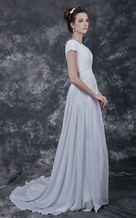 Second wedding dresses for older brides in various style june simple rutched top with lightweight chiffon skirt junglespirit Choice Image