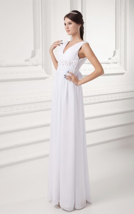 V-Neck Sleeveless Chiffon Long Dress with Floral Waist