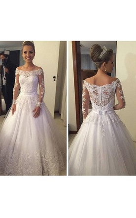 A Line Lace Wedding Dresses with Sleeves