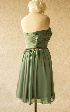 Soft Chiffon Strapless Bridesmaid Comes With Slim Satin Belt Dress