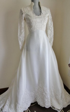 Queen Anne Neck Long Sleeve A Line Satin Wedding Dress With Lace Hem