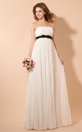 Strapless Chiffon Empire Dress With Draping And Satin Sash