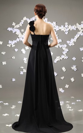Noble Style Maxi Dress With Draping And Brush Train