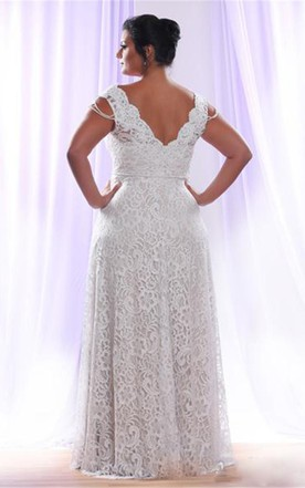 9e09c84bc75 ... Removable Long Sleeves V Neck Floor Length A Line Lace Plus Size  Wedding Dress