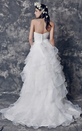 Sassy Sweetheart Organza Ball Gown With Tiered Descaded Skirt and Beaded Petal on Waistband