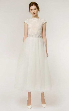 Simple style white color wedding gowns simple bridal dresses a line tea length cap sleeve lace tulle wedding dress junglespirit Choice Image