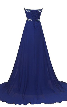 Sweetheart A-line Chiffon Gown With Rhinestones Detail