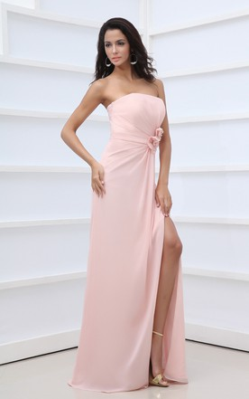 Scalloped Edge Neckline Neckline Chic Gown With Side Split And Flower