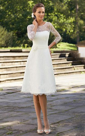 Casual style wedding gowns informal bridal dresses june bridals a line short scoop bell beading flower zipper lace sequins dress junglespirit Gallery
