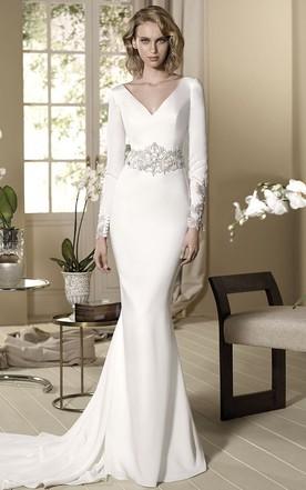 03bc96d23 Sheath Beaded Long-Sleeve Floor-Length V-Neck Jersey Wedding Dress ...