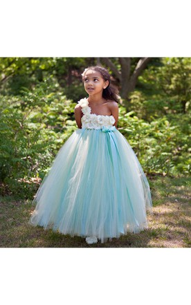 1c74cb6d598 Floral One Shoulder Pleated Tulle Aqua and Champagne Flower Girl Dress ...