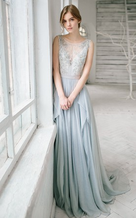 Sleeveless Floor Length Bridesmaid Dress With Lace And Beading