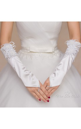 White Stretch Satin Hook With A Long Length Gloves with Bow