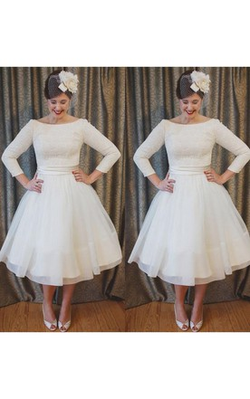 5febe5e2797 ... Plus Size Tea Length Lace and Organza Wedding Dresses with 3-4 Long  Sleeves