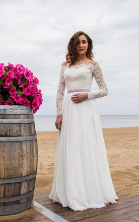 Cute style wedding gowns bridal dresses cute june bridals off shoulder long sleeve closed sheer back wedding dress with chiffon skirt junglespirit Gallery