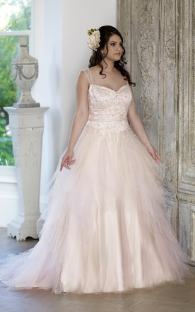 Ball Gown Long Straps Sleeveless Tulle Chapel Train Corset Back Beading Dress