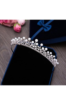 Korean-Style Micro-Bracelet Bridal Shell Pearl Crown Necklace Earrings Three Suit Headdress