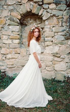 Boho Non Corset A Line Chiffon Wedding Dress With Pleats