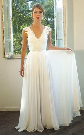 Plunged Appliqued Cap-Sleeve Chiffon Ruched Wedding Backless Dress