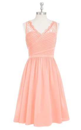 A-Line Sleeveless Short Chiffon V-Neck Dress With Ruching and Lace Top