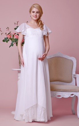 V-neck V-back Cap-sleeved Empire Chiffon Maternity Wedding Dress With Lace Bodice