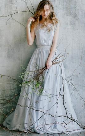 Chiffonu0026Lace Dress With Flower ...