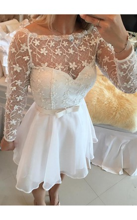 12c7f9f8f ... Beautiful White Lace Homecoming Dress 2018 Short Long Sleeve Cocktail  Dress