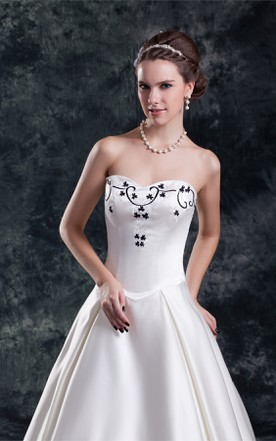 Strapless Satin Pleated Ball Gown with Embroideries