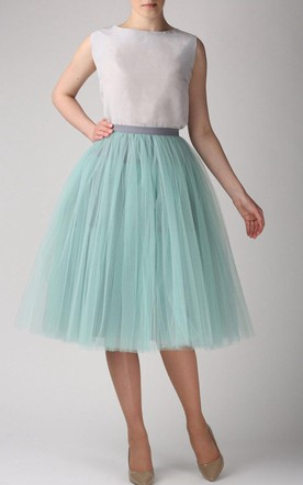 Grey Mint Tutu Skirt Tulle Tea Length Dress
