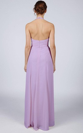Halter Neck Pleated Long Bridesmaid Dres