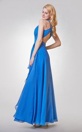 V-neck A-line Long Chiffon Dress With Cross Back