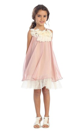 acc9a4fe39b Sleeveless Dress With Petal Neck and Illusion Style
