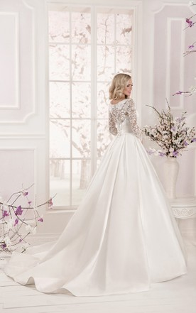 Cute style wedding gowns bridal dresses cute june bridals lace top long sleeve floor length satin applique dress junglespirit Gallery