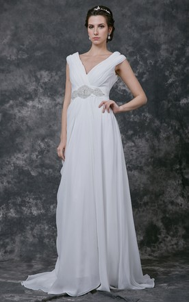 Stunning Crinkle V-neck Chiffon Sheath Gown With Crystal Beaded Empire
