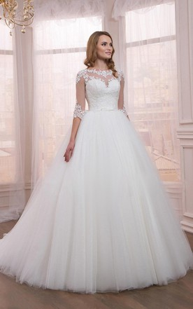 Half Sleeve Tulle Ball Gown Dress With Liques