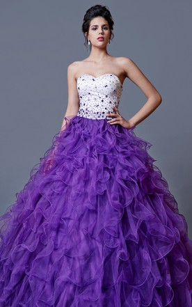 Two Tone Full Ruffled Skirt Sparkling Bodice A-line Gown