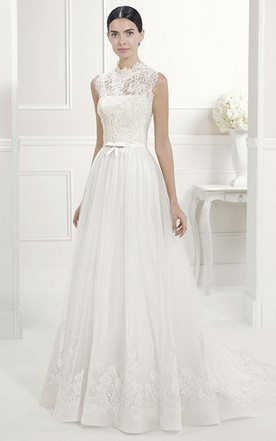 Cheap and Stylish High Neck Lace Wedding Dresses - June Bridals
