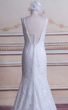 Mermaid V-Neck Lace Satin Weddig Dress With Beading