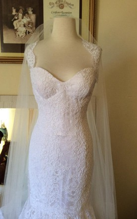 French Lace Mermaid Wedding Dress With Queen-Anne Neck