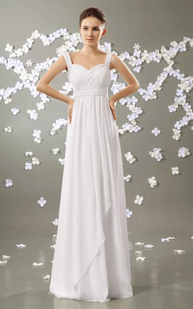 Strapless Empire Chiffon Pleated Gown With Beaded Straps